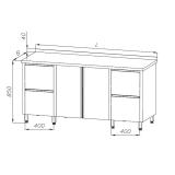 Stół roboczy nierdzewny z szafką i blokiem szuflad 130x70x85 cm E1210/1700/600-W