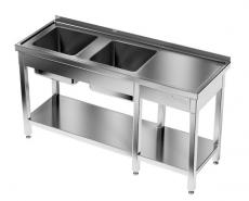 Stół nierdzewny ze zlewami, otworem na odpadki i prowadnicami 225x70 cm<br />model: E2245/2200/700-W<br />producent: M&M Gastro