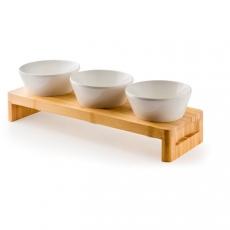 Stojak drewniany z miskami z melaminy<br />model: 561294<br />producent: Hendi