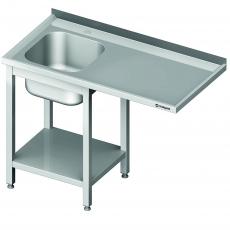 Stół nierdzewny ze zlewem 1-komorowym i miejscem na zmywarkę<br />model: 980966150S/W<br />producent: Stalgast