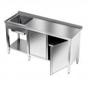 Stół nierdzewny ze zlewem 1-komorowym i szafką  E2105/1800/600