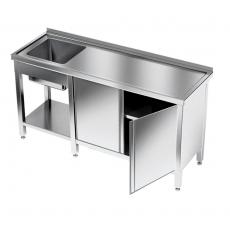 Stół nierdzewny ze zlewem 1-komorowym i szafką 180x60x85 cm<br />model: E2105/1800/600/L/E81<br />producent: M&M Gastro