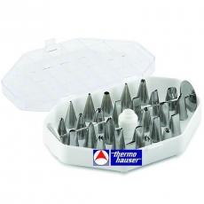 Komplet stalowych małych koncówek dekoracyjnych<br />model: 240020001<br />producent: Thermo Hauser
