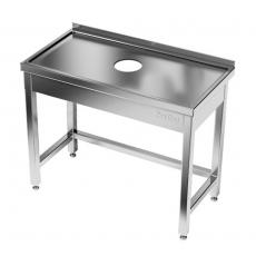 Stół roboczy nierdzewny z otworem na odpadki 60x70x85 cm<br />model: E1030/600/700-W<br />producent: ProfiChef