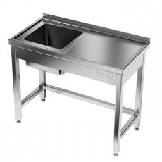 Stół nierdzewny ze zlewem 1-komorowym<br />model: E2030/1300/700<br />producent: M&M Gastro