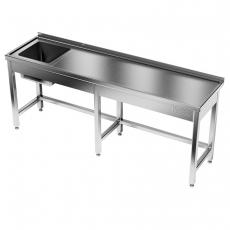 Stół nierdzewny ze zlewem 1-komorowym<br />model: E2031/2400/700<br />producent: ProfiChef