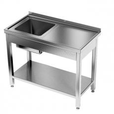 Stół nierdzewny ze zlewem 1-komorowym i półką<br />model: E2040/1300/600<br />producent: ProfiChef