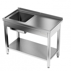 Stół nierdzewny ze zlewem 1-komorowym i półką<br />model: E2040/1200/700<br />producent: ProfiChef