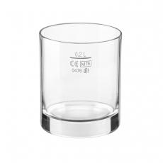 Szklanka niska do napojów 200 ml - z cechą<br />model: 400542<br />producent: Bormioli Rocco