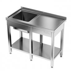 Stół nierdzewny ze zlewem 1-komorowym i półką<br />model: E2041/2400/700<br />producent: ProfiChef