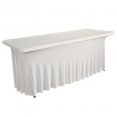 Pokrowiec z falbanką biały na stół prostokątny 150 cm<br />model: BTO-FP150-W<br />producent: Verlo
