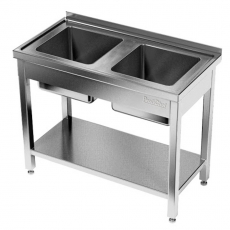 Stół nierdzewny ze zlewem 2-komorowym i półką<br />model: E2240/1000/700<br />producent: ProfiChef