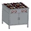 Kuchnia gastronomiczna gazowa 4-palnikowa z szafką TG-4725.IV