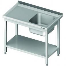 Stół nierdzewny ze zlewem 1-komorowym i półką dolną<br />model: 980696180S/W<br />producent: Stalgast