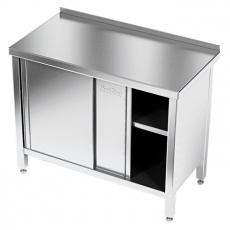 Stół roboczy nierdzewny z szafką 205x70x85 cm<br />model: E1100/1900/700-W<br />producent: M&M Gastro