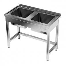 Stół nierdzewny ze zlewem 2-komorowym<br />model: E2230/1200/600/P-W<br />producent: M&M Gastro
