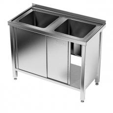 Stół nierdzewny ze zlewem 2-komorowym i szafką<br />model: E2280/1000/600<br />producent: ProfiChef