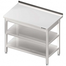 Stół roboczy nierdzewny z dwiema półkami<br />model: 980067140S<br />producent: Stalgast