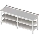 Stół roboczy nierdzewny z dwiema półkami - 980076260
