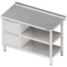Stół roboczy nierdzewny z blokiem szuflad i dwiema półkami<br />model: 980287080<br />producent: Stalgast