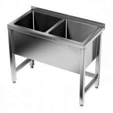 Basen nierdzewny 2-komorowy (gł. 40 cm)<br />model: E2820/1300/700/400<br />producent: M&M Gastro