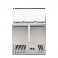 Stół chłodniczy 2-drzwiowy sałatkowy z nadstawką szklaną<br />model: FG07101<br />producent: Forgast