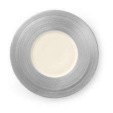 Talerz płytki z szerokim srebrnym rantem MANHATTAN<br />model: 797846<br />producent: Luzerne
