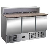 Stół chłodniczy 3-drzwiowy do pizzy z nadstawką FG07203