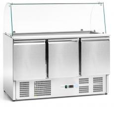 Stół chłodniczy 3-drzwiowy sałatkowy z nadstawką szklaną<br />model: FG07104<br />producent: Forgast