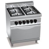Kuchnia gazowa 4-palnikowa z piekarnikiem elektrycznym GN 2/1 PC7003