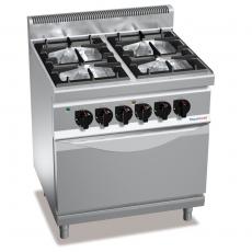 Kuchnia gazowa 4-palnikowa z piekarnikiem elektrycznym GN 2/1<br />model: PC7003<br />producent: ProfiChef