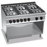 Kuchnia gazowa 6-palnikowa z piekarnikiem elektrycznym GN 2/1 PC9004