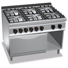 Kuchnia gazowa 6-palnikowa z piekarnikiem elektrycznym GN 2/1<br />model: PC9004<br />producent: ProfiChef