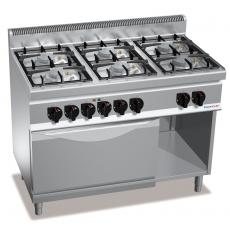 Kuchnia gazowa 6-palnikowa z piekarnikiem elektrycznym GN 2/1<br />model: PC7001<br />producent: ProfiChef