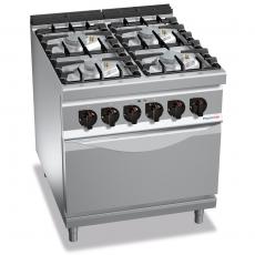 Kuchnia gazowa 4-palnikowa z piekarnikiem elektrycznym GN 2/1<br />model: PC9006<br />producent: ProfiChef