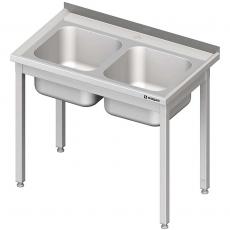 Stół ze zlewem nierdzewny 2-komorowym składany<br />model: 615106/W<br />producent: Stalgast