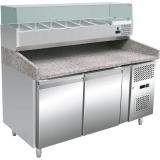 Stół chłodniczy do pizzy, 2 drzwiowy, 60X40 cm, nadstawa chłodnicza, 428 l, 843300