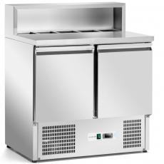Stół chłodniczy 2-drzwiowy do pizzy z nadstawką - blat nierdzewny<br />model: FG0720<br />producent: Forgast
