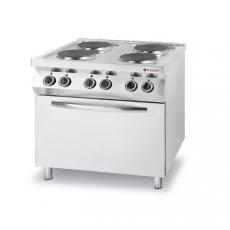 Kuchnia gastronomiczna elektryczna 4-płytowa z piekarnikiem<br />model: 225936/W<br />producent: Hendi