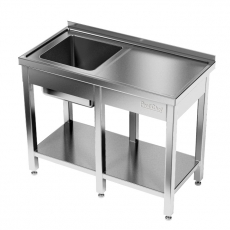 Stół nierdzewny ze zlewem 1-komorowym i półką<br />model: E2041/2300/600/P/E3<br />producent: ProfiChef
