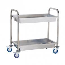 Wózek kelnerski nierdzewny 2-półkowy głęboki<br />model: 10010080/W<br />producent: Royal Catering
