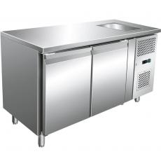 Stół chłodniczy 2-drzwiowy ze zlewem i agregatem po prawej stronie<br />model: 841061<br />producent: Stalgast