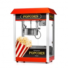 Maszyna do popcornu z czerwonym daszkiem<br />model: FG09302/E6<br />producent: Forgast