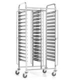 Wózek nierdzewny składany do tac i pojemników - na 30 GN 1/1 FG01103