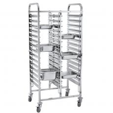 Wózek nierdzewny składany do tac i pojemników - na 30 GN 1/1<br />model: FG01103<br />producent: Forgast