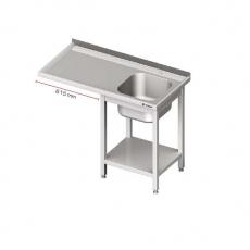 Stół ze zlewem i miejscem na lodówkę nierdzewny <br />model: 980956120/U47<br />producent: Stalgast