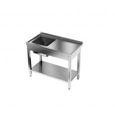 Stół nierdzewny ze zlewem 1-komorowym i półką<br />model: E2040/1000/600/U1<br />producent: ProfiChef