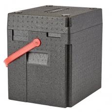 Pojemnik termoizolacyjny na napoje GoBox z czerwonym paskiem<br />model: EPPBEVRDST/E1<br />producent: Cambro