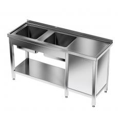 Stół nierdzewny ze zlewem 2-komorowym i szafką<br />model: E2255/1600/600P/E1<br />producent: ProfiChef