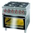 Kuchnia gastronomiczna gazowa 4-palnikowa z piekarnikiem el. | KROMET 700.KG-4/PE-2 - 700.KG-4/PE-2